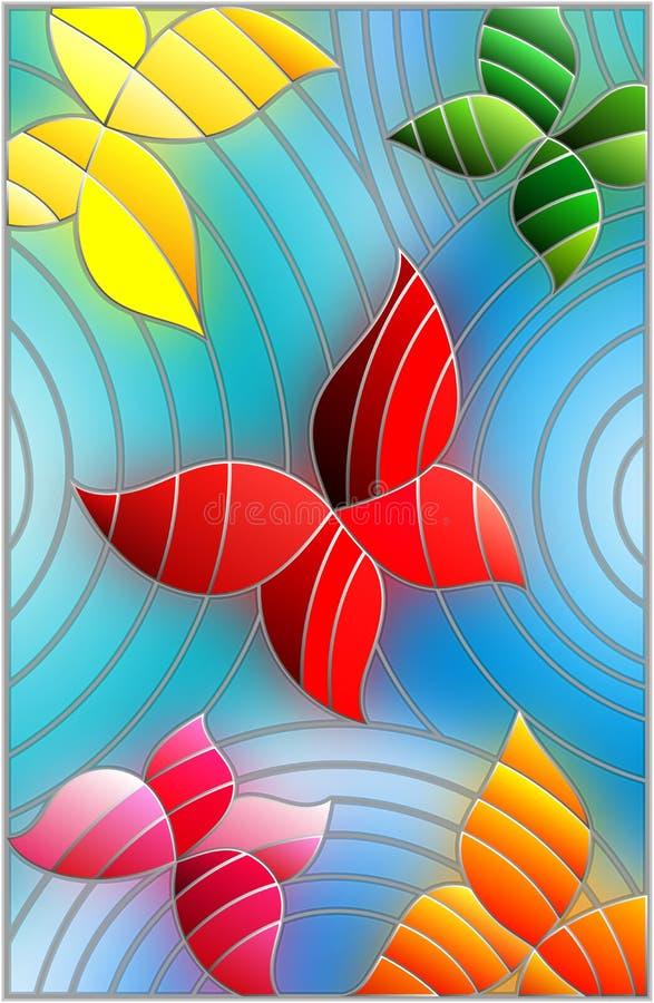 Witraż ilustracja z kolorowymi abstrakcjonistycznymi motylami na błękitnym tle royalty ilustracja