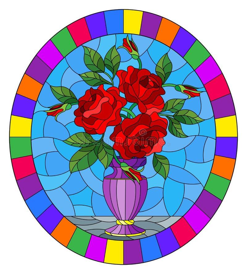 Witraż ilustracja z kwiecistym życiem wciąż, bukiet czerwone róże w purpurowej wazie na błękitnym tle, owalny wizerunek w br ilustracji