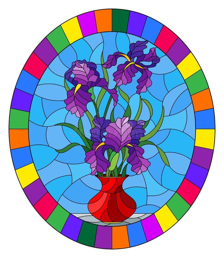Witraż ilustracja z kwiecistym życiem wciąż, bukiet purpurowi irysy w czerwonej wazie na błękitnym tle, round wizerunek w b royalty ilustracja
