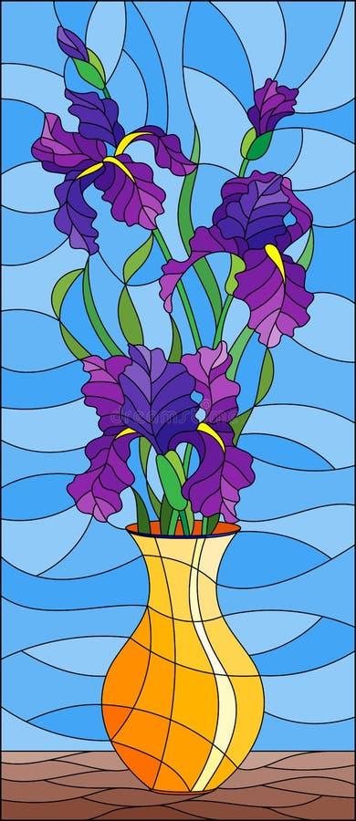 Witraż ilustracja z kwiecistym życiem wciąż, bukiet purpurowi irysy w pomarańczowej wazie na błękitnym tle ilustracji