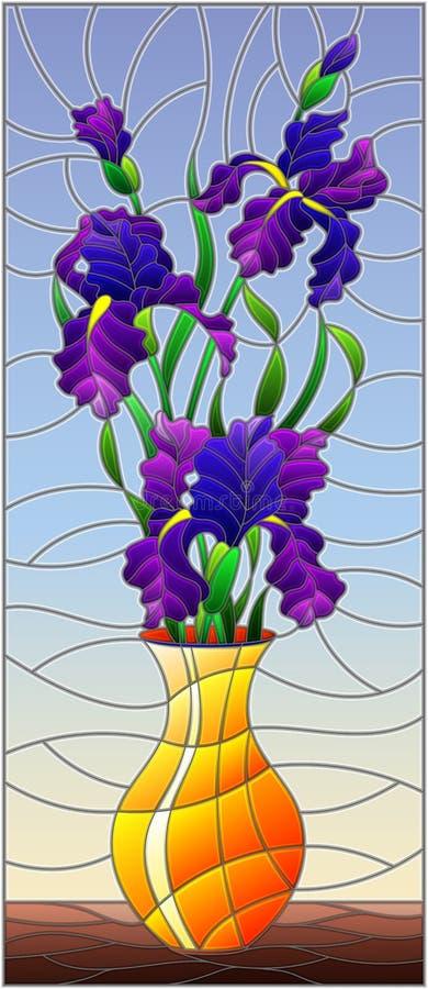 Witraż ilustracja z kwiecistym życiem wciąż, bukiet purpurowi irysy w pomarańczowej wazie na błękitnym tle royalty ilustracja