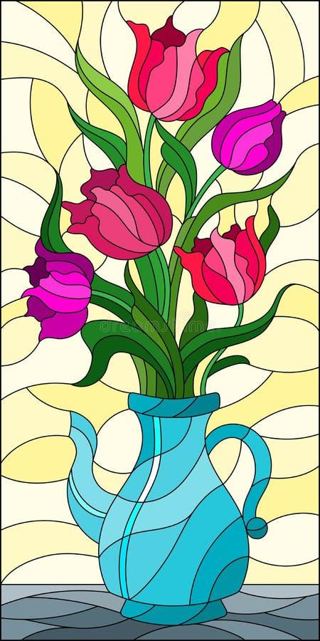 Witraż ilustracja z kwiecistym życiem wciąż, bukiet różowi tulipany w błękitnej wazie na żółtym tle royalty ilustracja