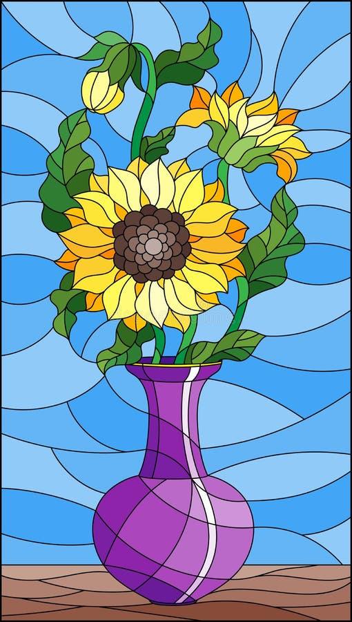 Witraż ilustracja z kwiecistym życiem wciąż, bukiet słoneczniki w purpurowej wazie na błękitnym tle ilustracji