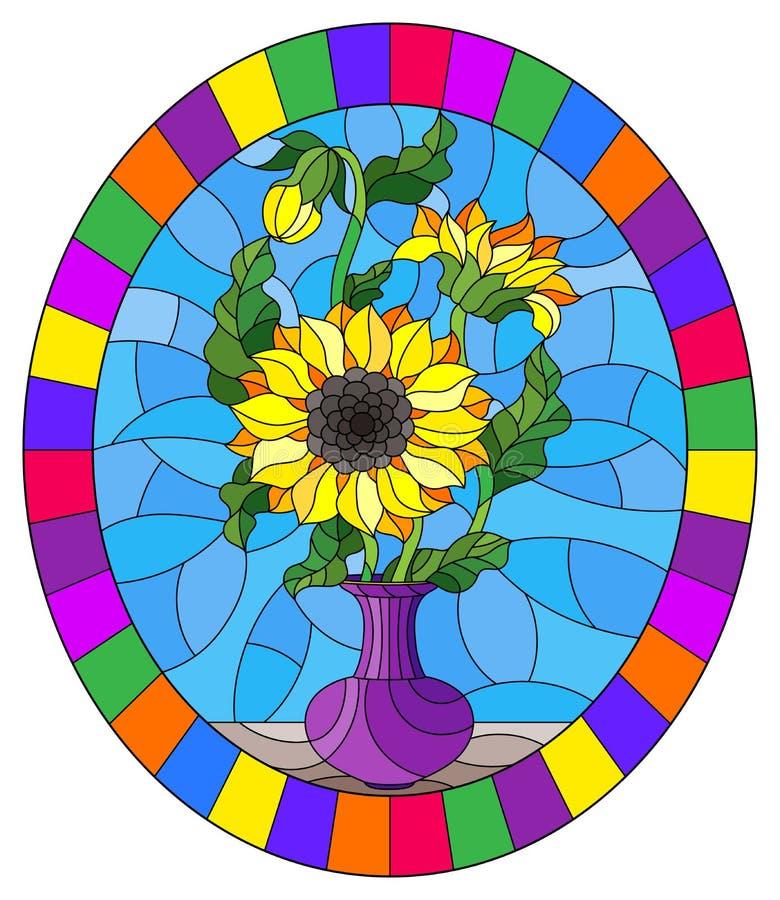 Witraż ilustracja z kwiecistym życiem wciąż, bukiet słoneczniki w purpurowej wazie na błękitnym tle, owalny wizerunek w a ilustracji