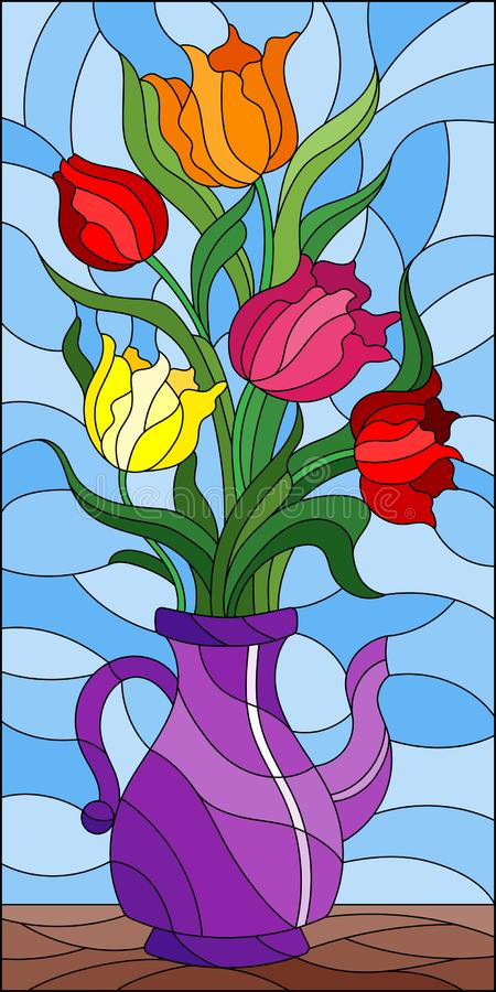 Witraż ilustracja z kwiecistym życiem wciąż, kolorowy bukiet tulipany w purpurowej wazie na błękitnym tle ilustracja wektor