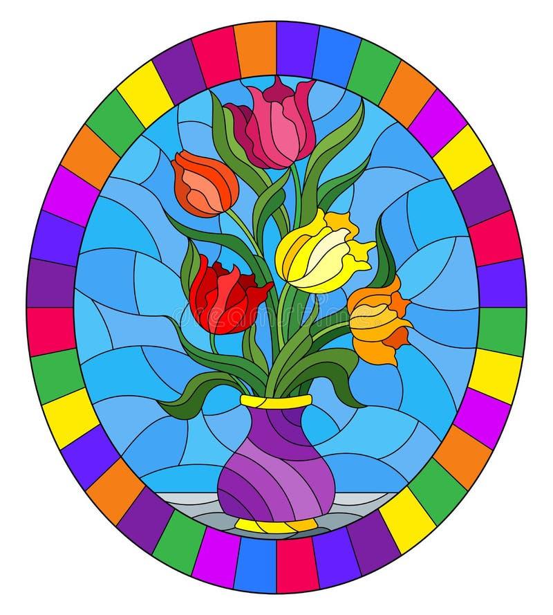Witraż ilustracja z kwiecistym życiem wciąż, kolorowy bukiet tulipany w purpurowej wazie na błękitnym tle, owalny wizerunek ja ilustracji