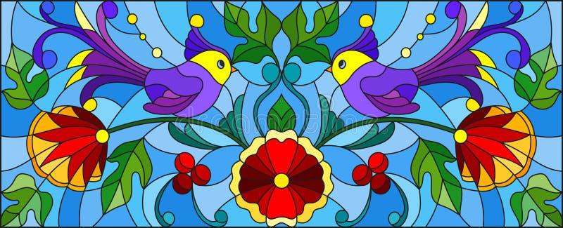 Witraż ilustracja z parą abstrakcjonistyczni purpurowi ptaki, kwiaty i wzory na błękitnym tle, horyzontalny wizerunek ilustracji