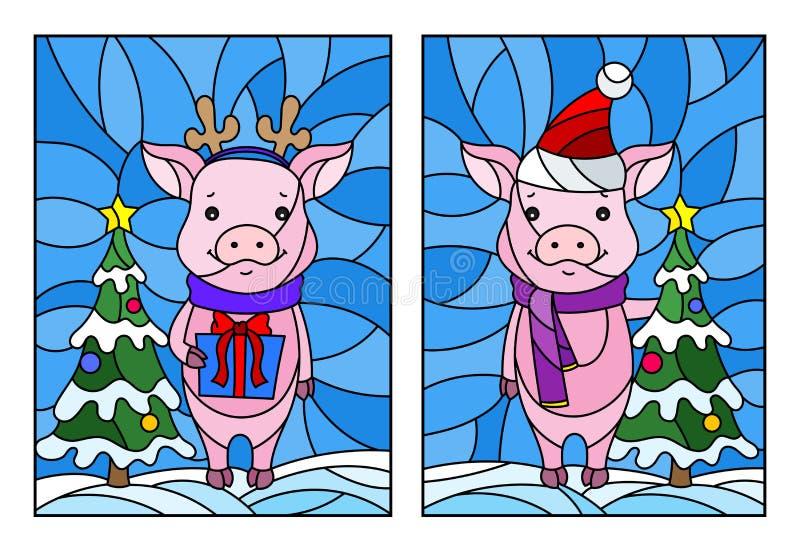 Witraż ilustracja z parą kreskówek świnie i choinka na tle śnieg i niebo ilustracji