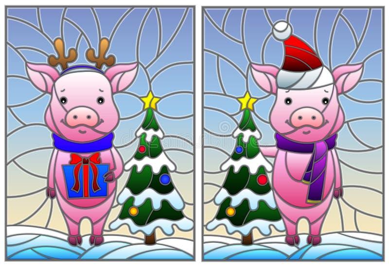 Witraż ilustracja z parą kreskówek świnie i choinka na tle śnieg i niebo royalty ilustracja