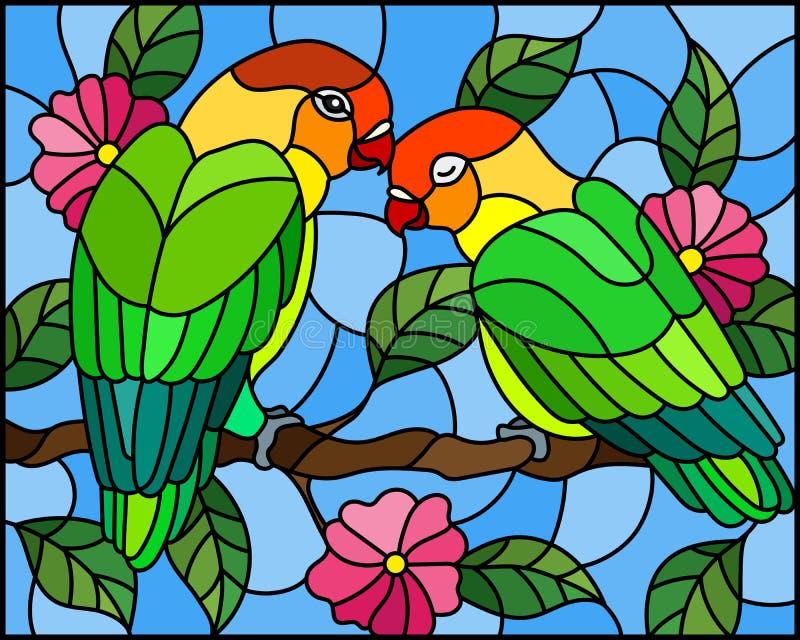Witraż ilustracja z parą ptak papug lovebirds na gałęziastym drzewie z menchiami kwitnie przeciw niebu ilustracji