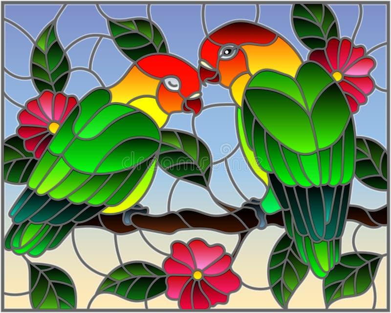 Witraż ilustracja z parą ptak papug lovebirds na gałęziastym drzewie z menchiami kwitnie przeciw niebu royalty ilustracja