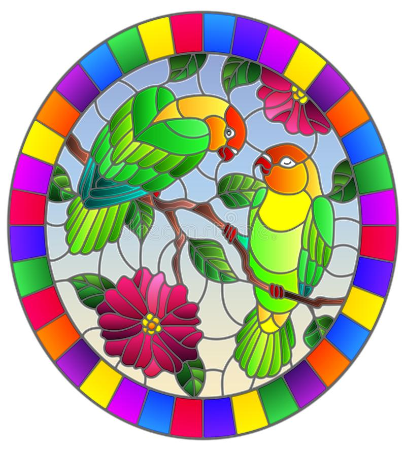 Witraż ilustracja z parą ptak papug lovebirds na gałęziastym drzewie z menchiami kwitnie przeciw niebu, owalny wizerunek ja royalty ilustracja