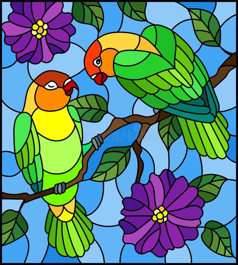 Witraż ilustracja z parą ptak papug lovebirds na gałęziastym drzewie z purpurami kwitnie przeciw niebu royalty ilustracja