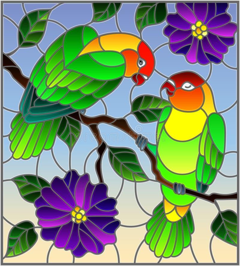 Witraż ilustracja z parą ptak papug lovebirds na gałęziastym drzewie z purpurami kwitnie przeciw niebu ilustracji