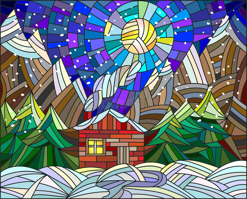 Witraż ilustracja z samotnym domem na tle góry i nocne niebo ilustracji