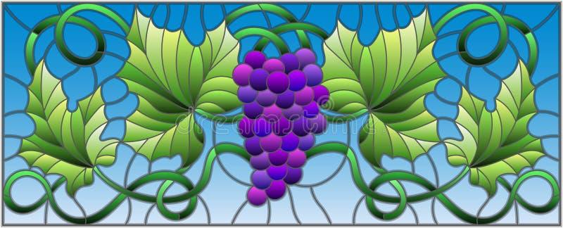 Witraż ilustracja z wiązką czerwoni winogrona i liście na nieba tle, horyzontalna orientacja ilustracja wektor