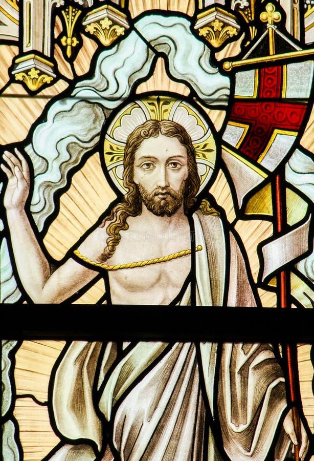 Witraż - rezurekcja Jezus obraz royalty free