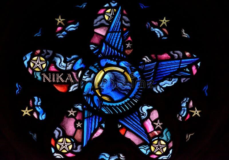 Witraż w Exeter katedrze, damy kaplicy Nadokienny maswerk Li fotografia royalty free