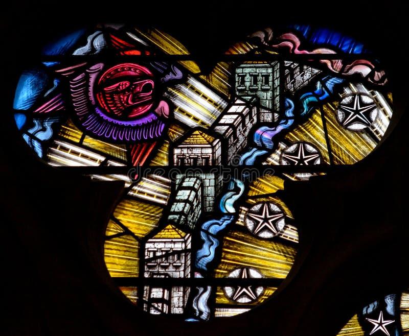Witraż w Exeter katedrze, damy kaplicy Nadokienny maswerk Li zdjęcie royalty free