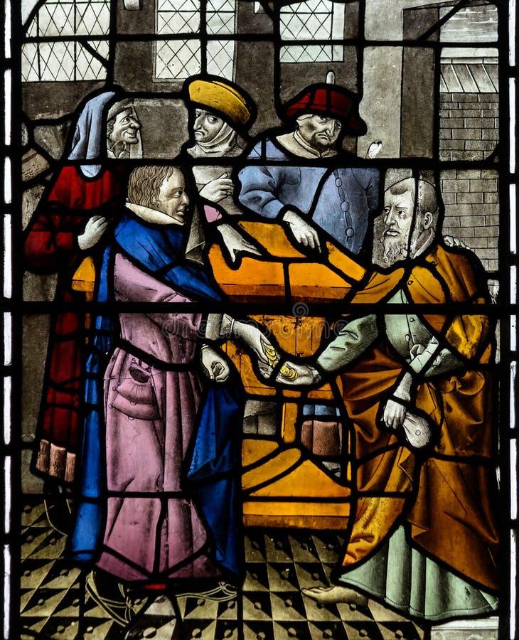 Witraż w Exeter katedrze, damy kaplicy Południowy okno Cl fotografia royalty free