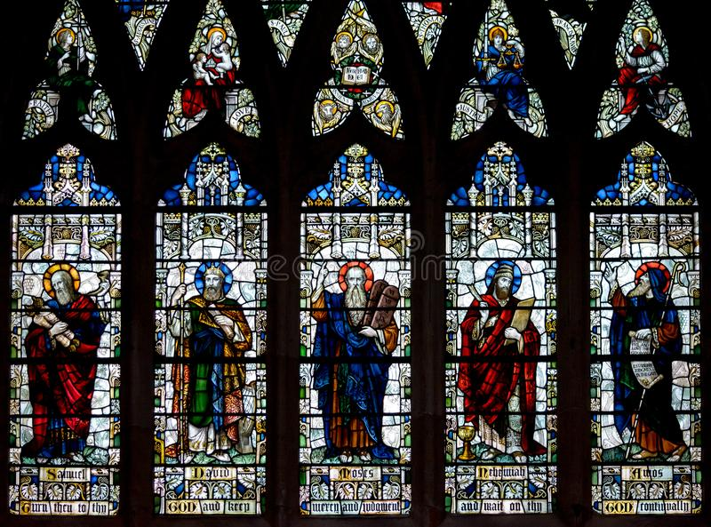 Witraż w Exeter katedrze, Nave Południowy Nadokienny d, Depictin obrazy royalty free