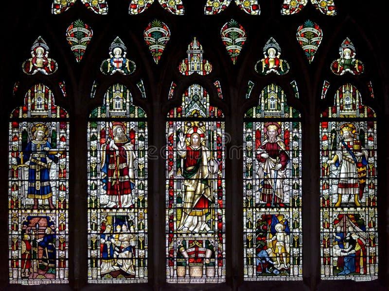 Witraż w Exeter katedrze, Nave Południowy okno C, zwycięzca M fotografia stock