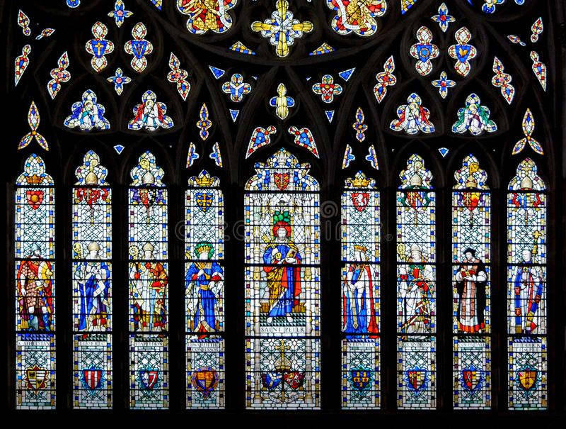 Witraż w Exeter katedrze, Zachodniego okno Niski panel fotografia royalty free