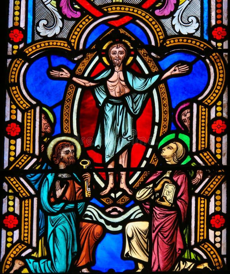 Witraż w Monaco katedrze - Apparition Jezus obraz royalty free