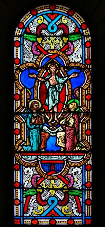Witraż w Monaco katedrze - Apparition Jezus zdjęcia royalty free