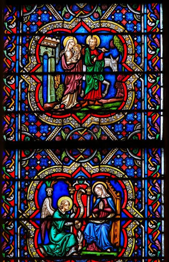 Witraż w Notre Damae - lot Egipt i Annunciation fotografia stock