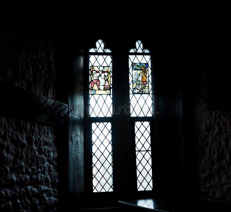 Witraż Windows Przy Bunratty kasztelem Irlandia obraz royalty free