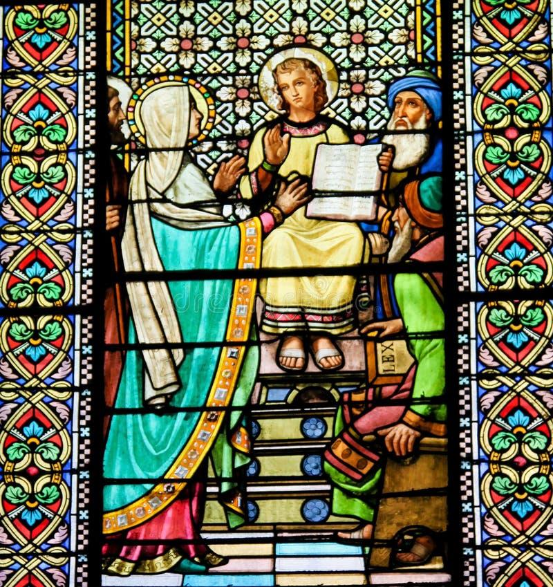 Witraż znalezienie Jezus w świątyni Jerozolima obrazy stock