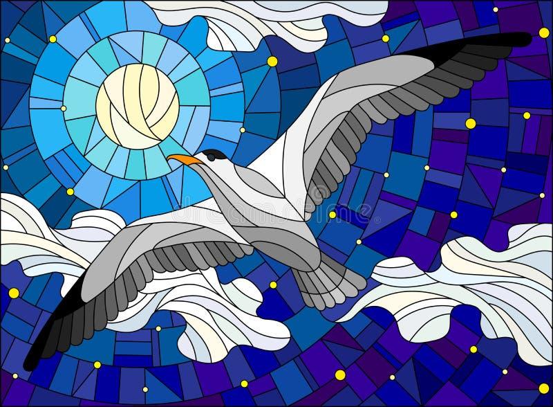 Witrażu ilustracyjny Seagull na tle gwiaździsty niebo, księżyc i chmury, ilustracja wektor