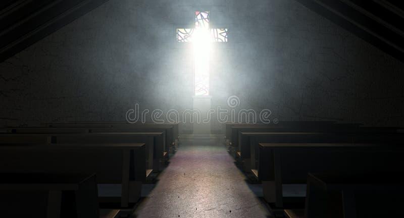 Witrażu krucyfiksu Nadokienny kościół zdjęcie royalty free
