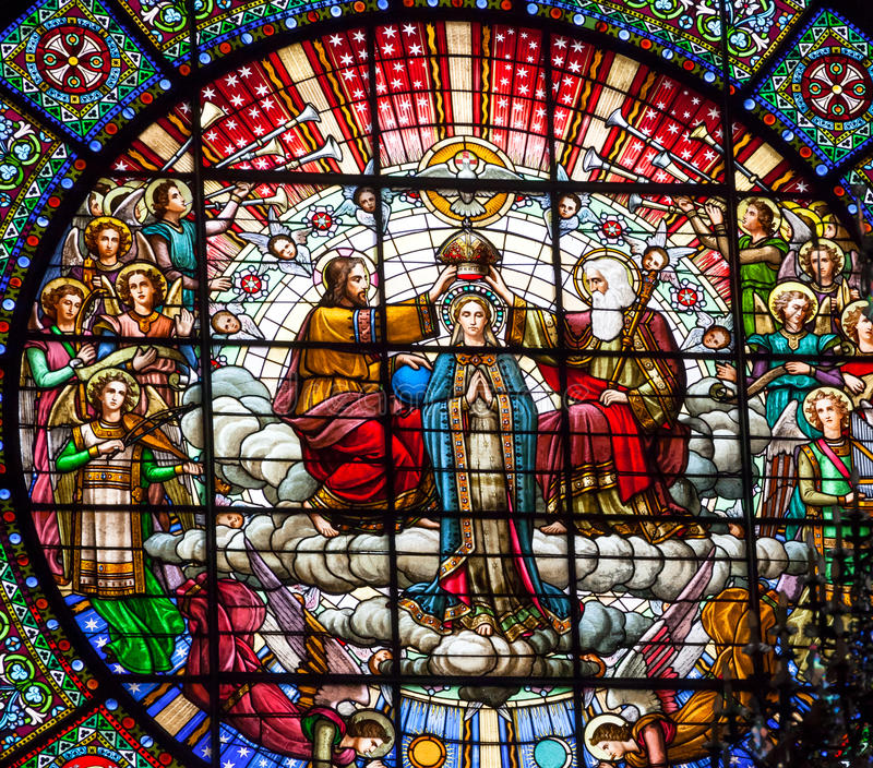 Witrażu Mary Jezusowy Różany Nadokienny monaster Montserrat zdjęcie royalty free