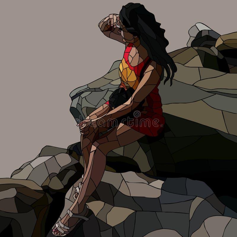 Witrażu obrazek kobieta patrzeje w dystansowego obsiadanie na kamieniach ilustracji