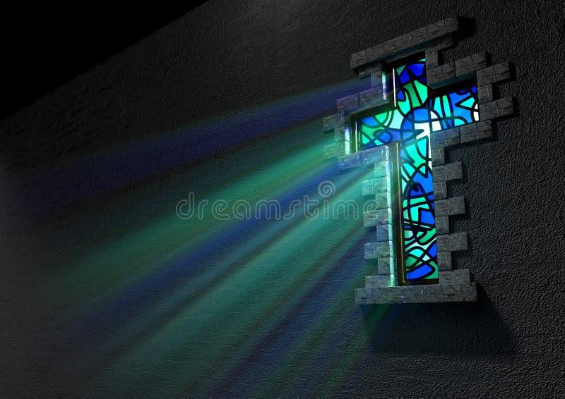 Witrażu okno krucyfiks ilustracji