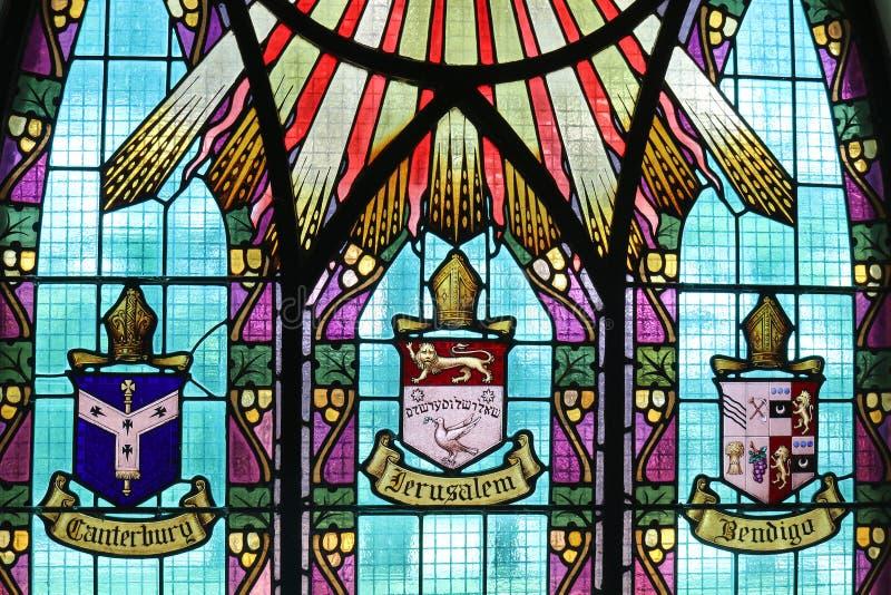 Witrażu okno w hasłowym sposobie St Paul's kościół anglikański w Kyneton zdjęcie royalty free