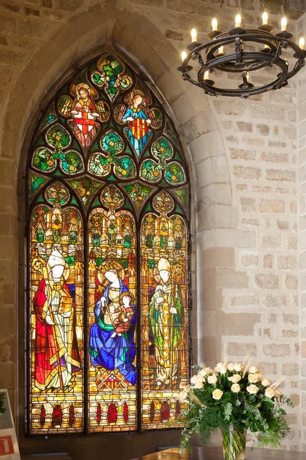 Witrażu okno w wnętrzu Barcelona urząd miasta fotografia royalty free