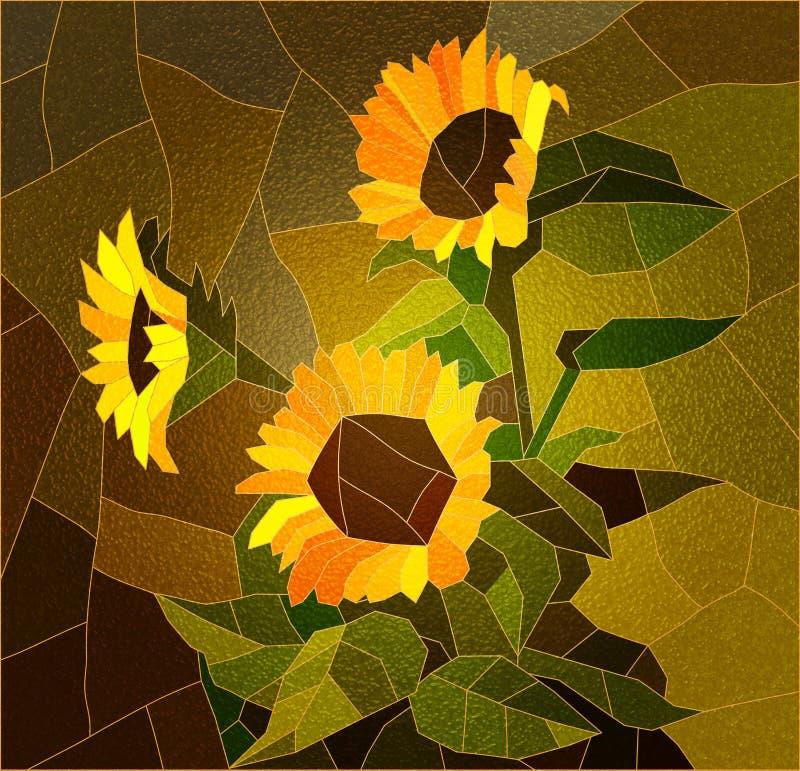 Witrażu okno z słonecznikami ilustracji