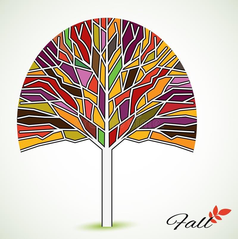 Witrażu spadku drzewo royalty ilustracja