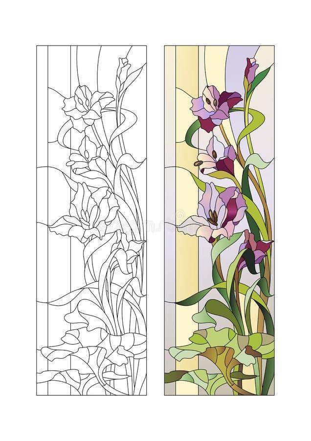 Witrażu wzór z gladioli royalty ilustracja