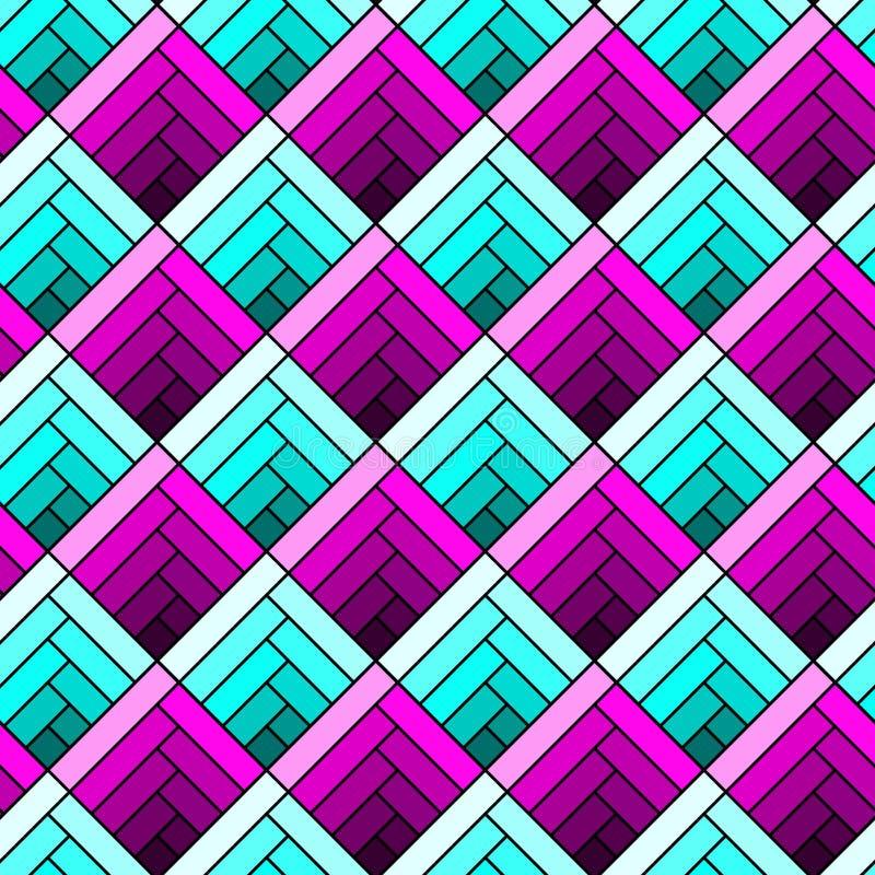 Witraży geometrycznych kwadratów bezszwowy wzór ilustracja wektor