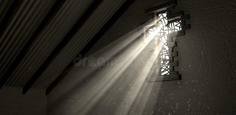 Witraży Nadokienny krucyfiks Iluminujący Lekcy promienie obrazy royalty free