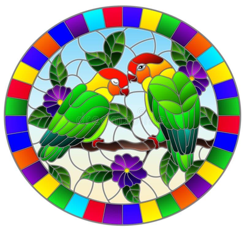 Witra? ilustracja z par? ptak papug lovebirds na ga??ziastym drzewie z purpurami kwitnie przeciw niebu, owalny wizerunek ilustracji