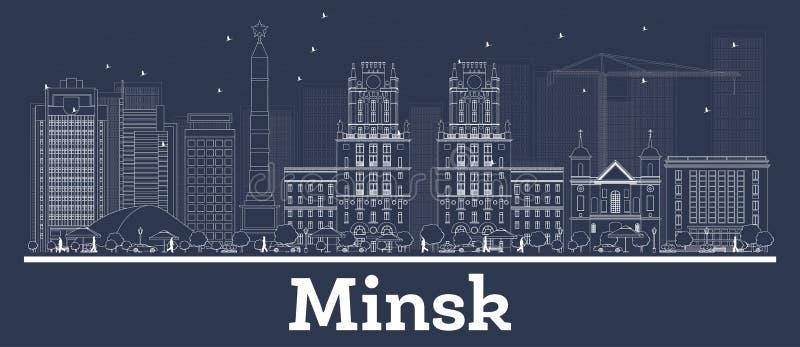 Witrussische de Stadshorizon van overzichtsminsk met Witte Gebouwen vector illustratie