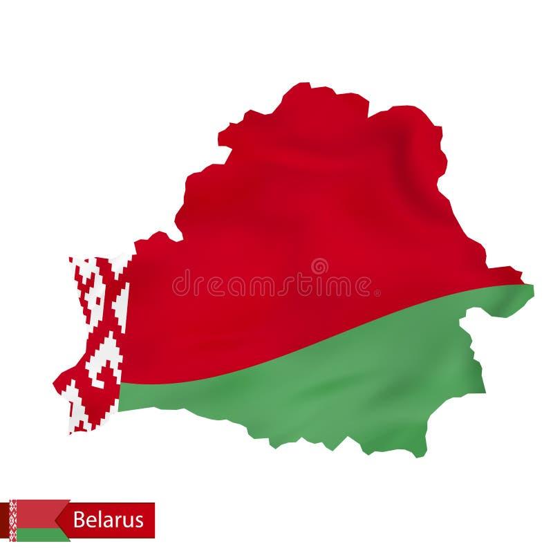 Witrussische kaart met golvende vlag van Wit-Rusland vector illustratie