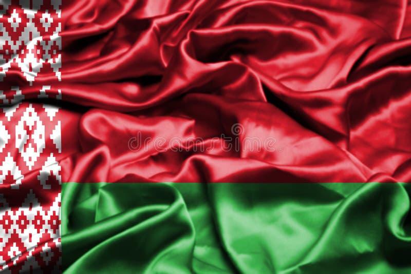 Witrussische vlag die in de wind golven vector illustratie