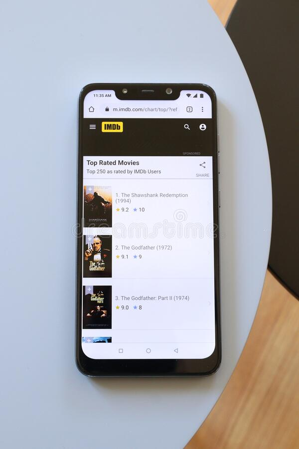 Witryna internetowa IMDB dla urządzeń przenośnych obraz stock