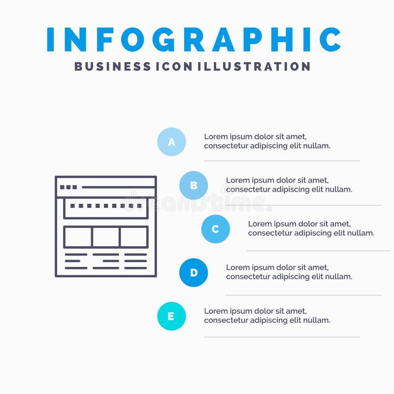 Witryna sieci Web, przeglądarka, firma, firma, strona, sieć Web, ikona linii strony sieci Web z 5 krokami Informacje o prezentacj ilustracja wektor
